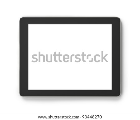Tablet PC isolated on white,.Square to image dimension, with pure white copyspace blank screen for easy overlay of custom presentation images or messages of your choice. - stock photo