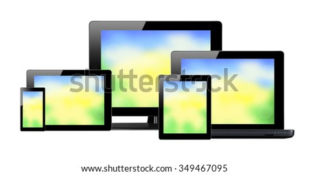 Tablet pc, mobile phone and computer with bright screens isolated on white background - stock photo