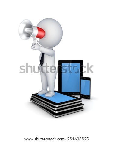 Tablet pc, mobile phone and 3d small person. - stock photo