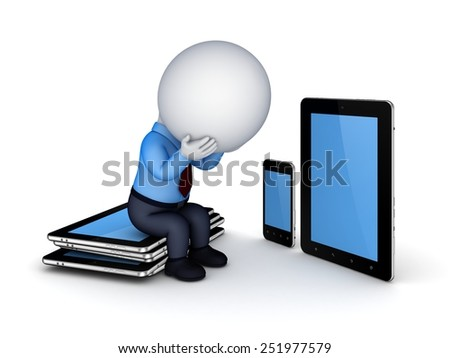 Tablet pc, mobile phone and 3d small person.