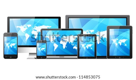 Tablet pc, mobile phone and different digital devices - stock photo