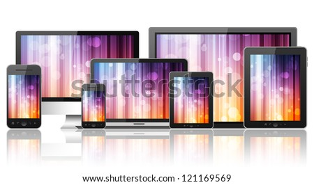 Tablet pc, mobile phone, notebook and computers - stock photo