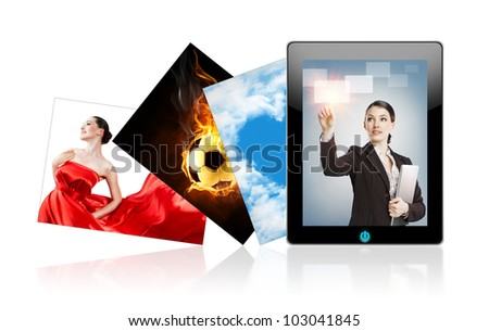 tablet pc on the white background