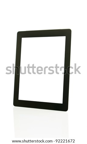 Tablet PC over white background - electronic library concept - stock photo