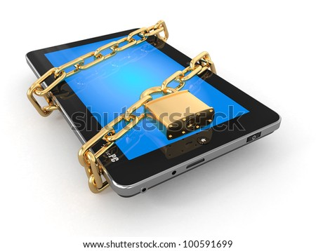 Tablet pc security. Chain with lock on computer. 3d - stock photo