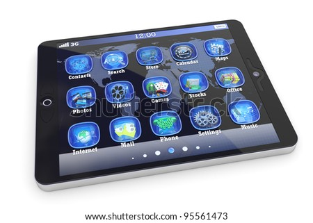 Tablet PC touchpad with 3d applications isolated on white - stock photo