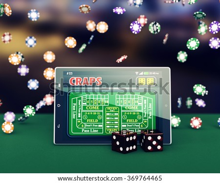 tablet pc with a craps app and a couple of dice, game chips falling on background (3d render)