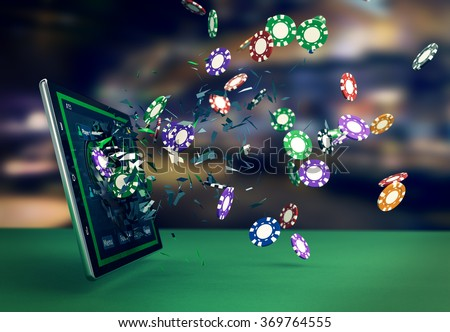 tablet pc with a poker app and poker chips coming out by breaking the glass, concept of online gaming (3d render) - stock photo