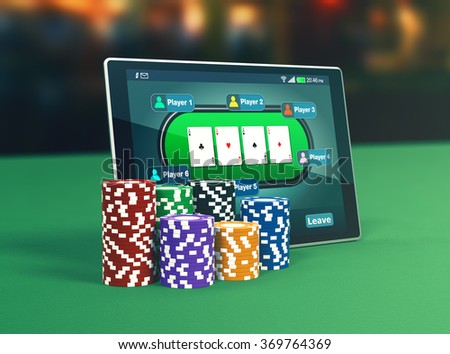 tablet pc with a poker app and stacks of poker chips (3d render) - stock photo