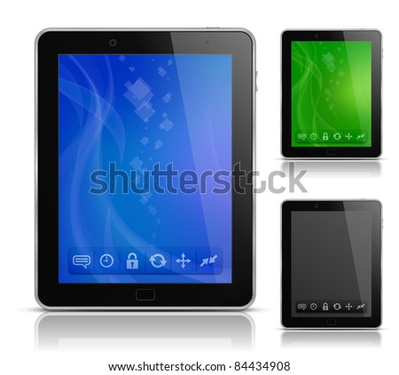Tablet PC with abstract background and icons. Raster version - stock photo