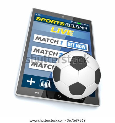 tablet pc with app for sport bets and a soccer ball, concept of online bets (3d render) - stock photo