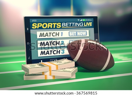 tablet pc with app for sport bets, stacks of banknotes and a football ball, concept of online bets (3d render) - stock photo