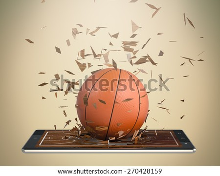 tablet pc with basketball field and a ball coming out by breaking the glass, concept of sport and new communication technology (3d render) - stock photo