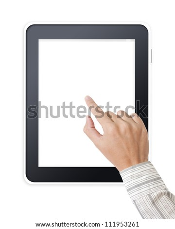 Tablet pc with businessman hands - stock photo