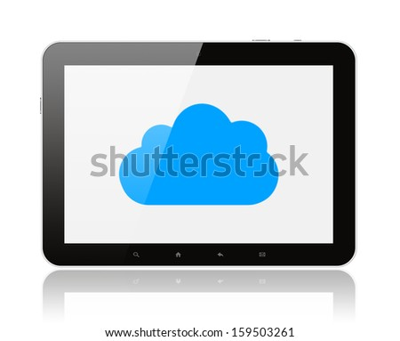 Tablet PC with cloud computing concept on white background   - stock photo