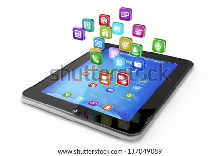 Tablet PC with cloud of icon applications