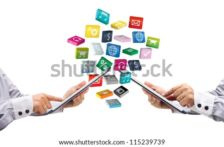 tablet pc with colorful application icons, isolated on white background - stock photo