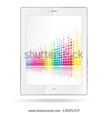 tablet pc with equalizer colorful lines - stock photo