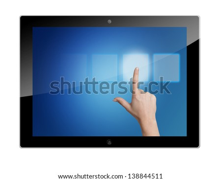 tablet pc with hand pressing a touchscreen button on blue background