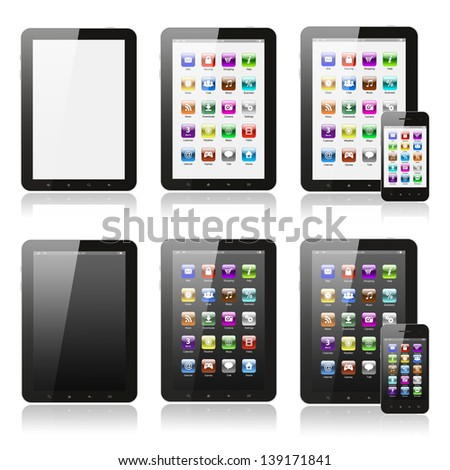Tablet pc with icons set on white background   - stock photo