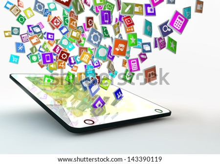tablet pc with lots of apps icons flying around the display - stock photo