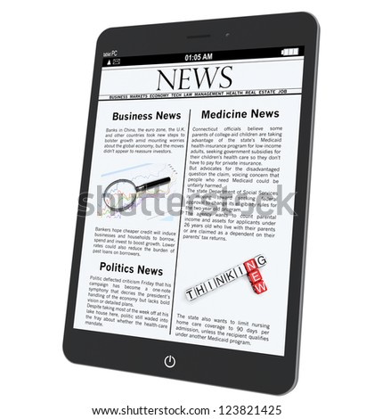 Tablet PC with News on a white background - stock photo
