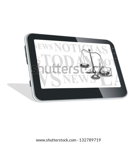 Tablet PC with news on laws. Also available in vector