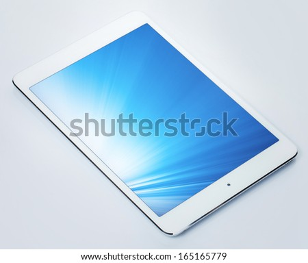 Tablet pc with shining screen white background - stock photo