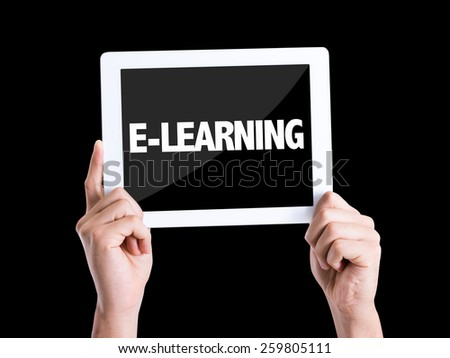 Tablet pc with text E-Learning isolated on black background - stock photo