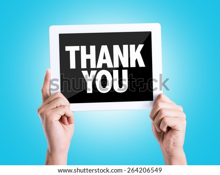 Tablet pc with text Thank You with blue background - stock photo