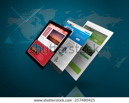 Tablet PC with Web Page on Blue Technology Background as Telecommunication concept - stock photo