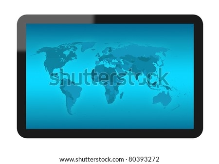 Tablet PC with world map. Include clipping path for tablet and screen. Reference map: www.cia.gov - stock photo