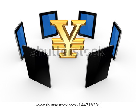 Tablet PCs around sign of yen.Isolated on white.3d rendered. - stock photo