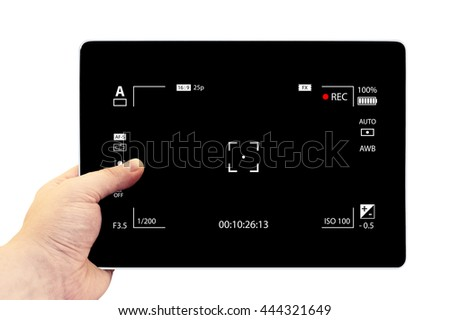 Tablet photography concept. Taking pictures on a tablet. Empty tablet PC in hand isolated on white. Modern digital black camera focusing screen with settings - stock photo