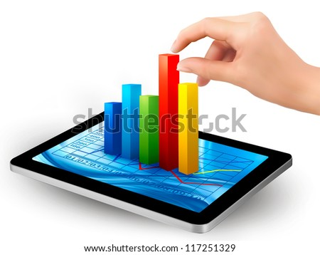Tablet screen with graph and a hand. Raster version of vector. - stock photo
