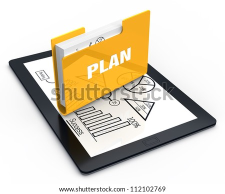 Tablet screen with yellow folder - stock photo