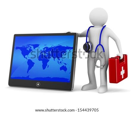 tablet service on white background. Isolated 3D image - stock photo