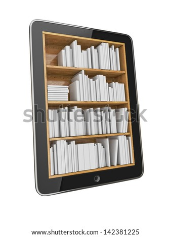 Tablet Shelf with Blank e-Book Isolated on White Background - stock photo