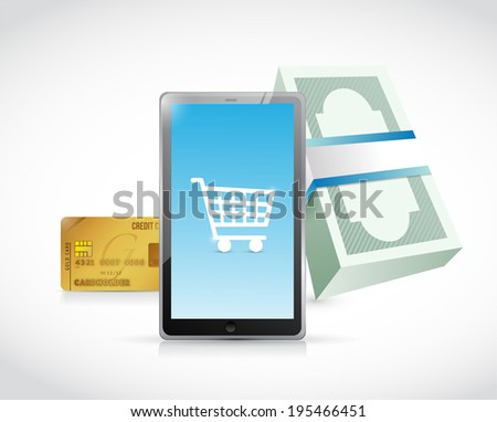 tablet shopping concept illustration design over a white background - stock photo