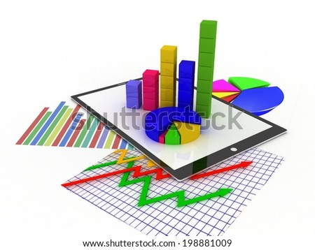 Tablet showing a spreadsheet and a paper with statistic charts, surrounded by some 3d charts - stock photo