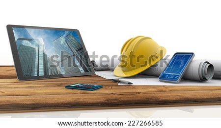 tablet, smart phone, safety helmet and blueprints on wooden table - stock photo