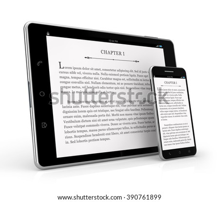 tablet smartphone e-reader isolated white background with clipping path - stock photo