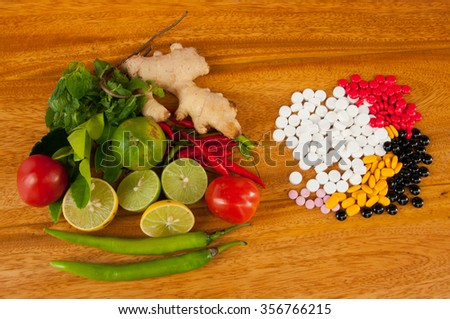 tablet  vitamin tablet and herb and vegetable - stock photo