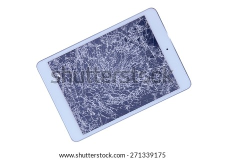 Tablet with a shattered glass screen rendered unusable after an accident or fall viewed isolated on white from above, diagonal with copy space - stock photo
