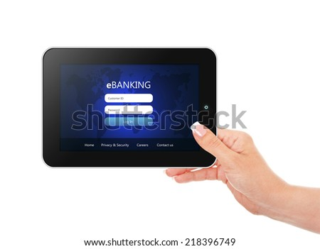 tablet with banking login page holded by hand  isolated over white background
