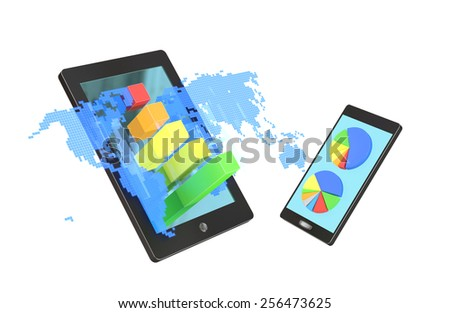 Tablet with blue holograph world map and bar graphs and smartphone with circle diagrams isolated on white background - stock photo