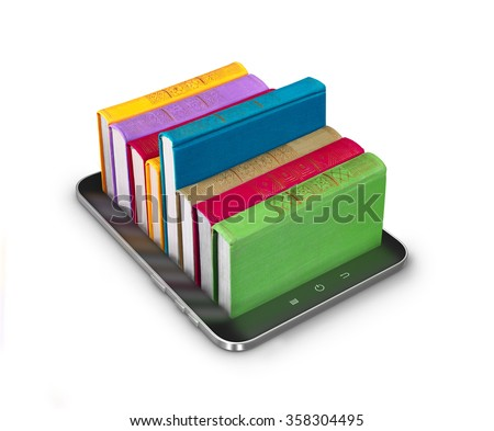 Tablet with books, isolated on white - stock photo