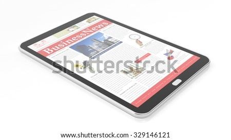 Tablet with Business News Website on screen,isolated on white. - stock photo
