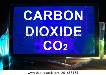 Tablet with chemical formula of  carbon dioxide . - stock photo