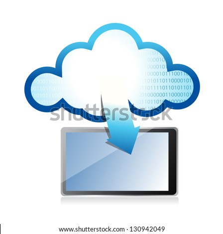 tablet with cloud computing symbol on a screen illustration design - stock photo